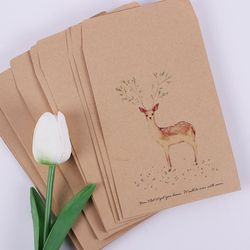 10 PCS Deer Paper Envelope 4 Designs Cute Mini Envelopes Vintage European Style for Card Scrapbooking Gift