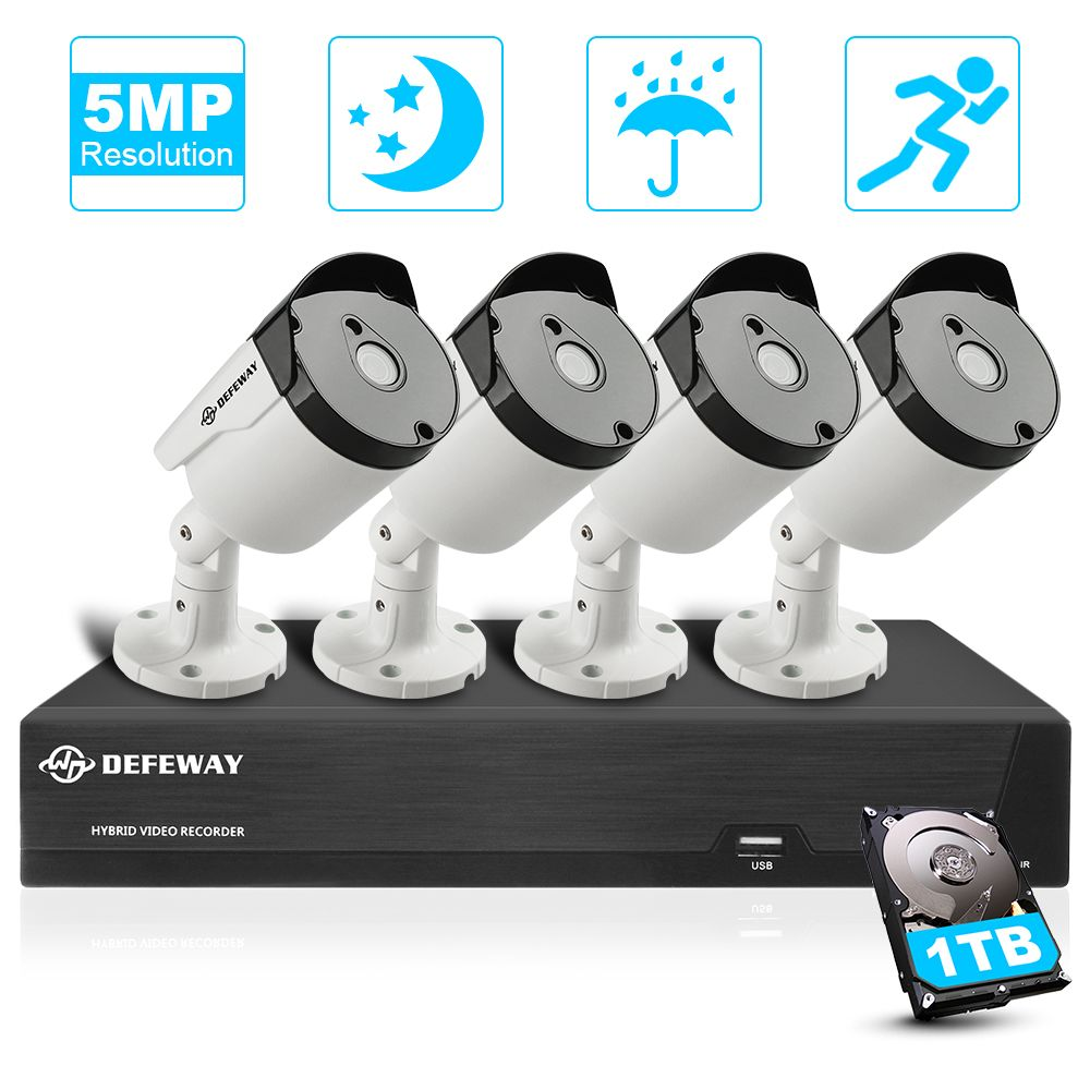 DEFEWAY Video Überwachung 4 Kanal HD 5.0MP H.265 + Outdoor Indoor CCTV Sicherheit Kamera System 4 Kamera mit 1 TB festplatte