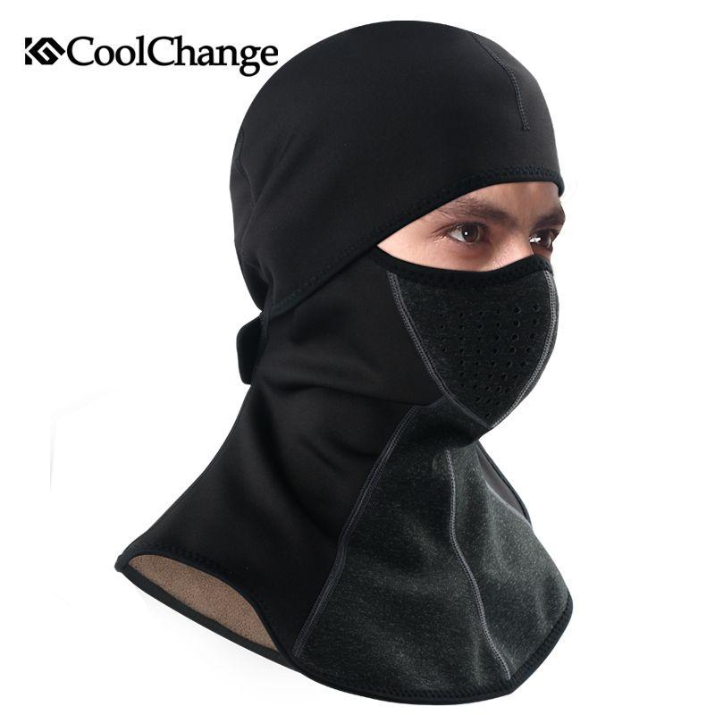 CoolChange Winter Radfahren Cap Fleece Thermische Halten Warme Winddicht Maske Fahrrad Skifahren Hut Kalten Headwear Bike Gesichtsmaske Schal