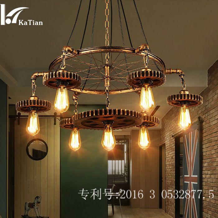 Wheel Lamp Restaurant Industrial Style Individual American Fashion Shop Net Cafe Hot Pot Shop Iron Gear Hanging Lamp