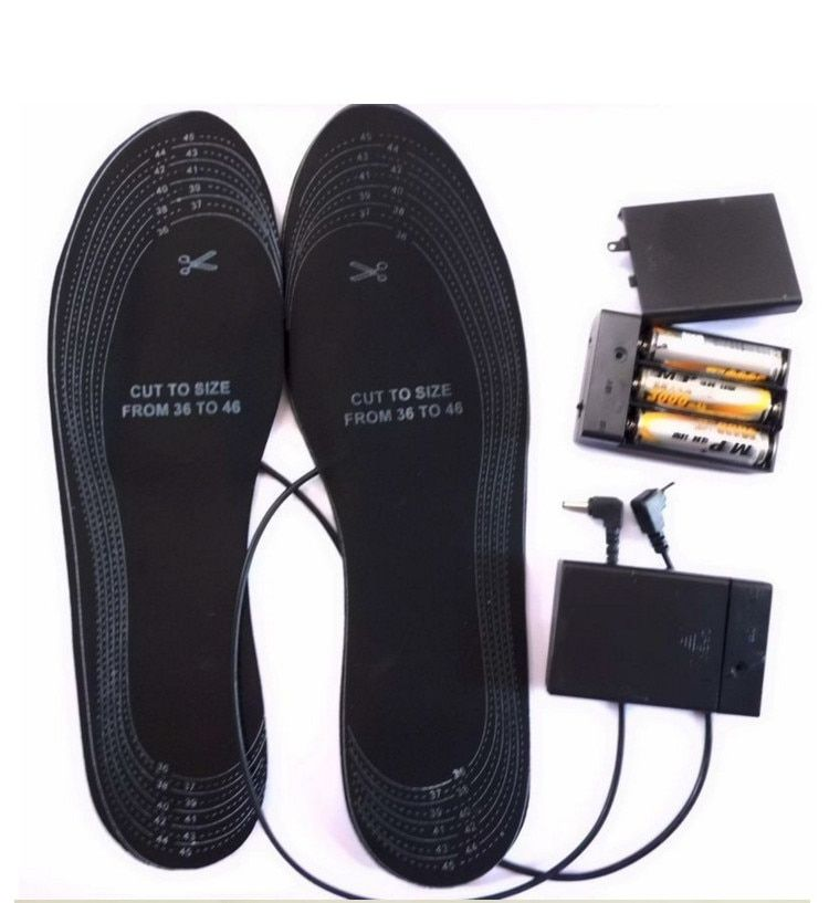 Safe Battery Heating Electronic Mules Clogs shoes for size 36-46 EVA Material Warming Black electric heated insoles Free size