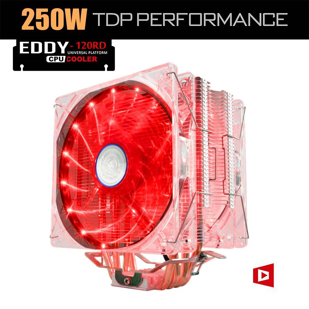 ALSEYE EDDY-120R CPU Cooler 4 Heatpipes TDP 220W Dual PWM 4pin 120mm LED Fan Radiator Cooler for LGA 775/115x/AM2/AM3/AM4