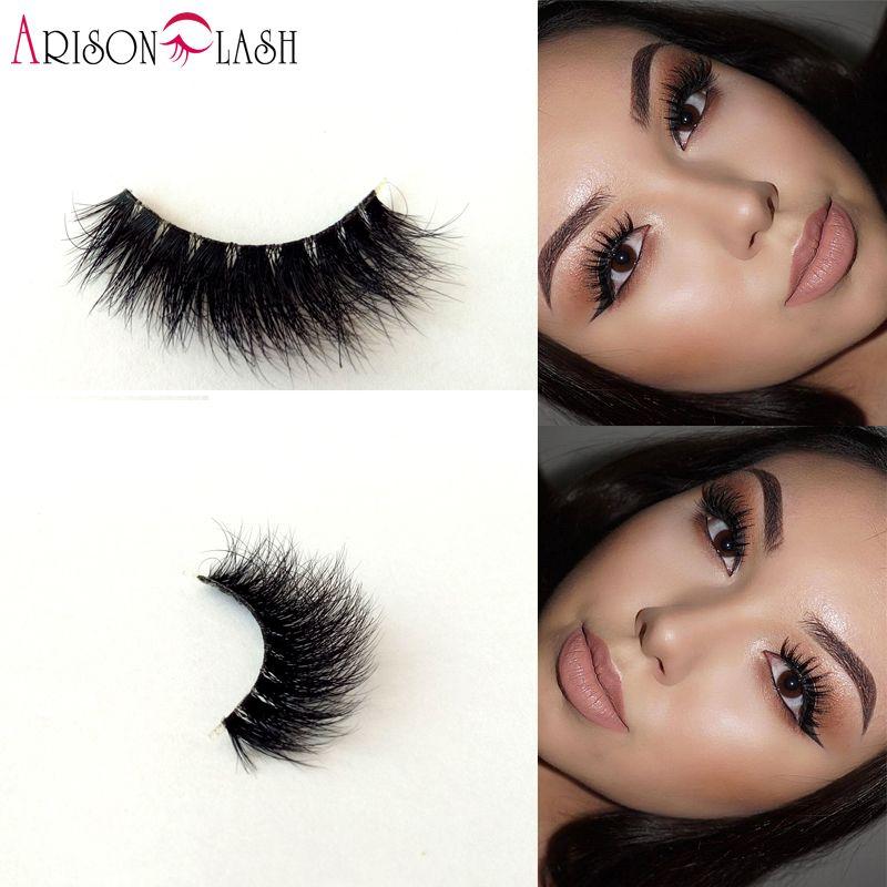 Arison cils 3D Vison Pleine Bande Cils En Plastique Transparent cils 100% Réel Sibérien Pour Femmes de Maquillage Nouveau Style Bande cils