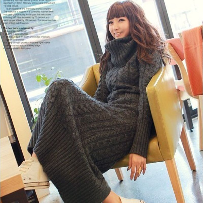 2017 otoño invierno moda mujeres cuello alto vestido de suéter delgado casual caliente de color sólido yardas grandes largo de punto de tocar fondo de la muchacha vestido