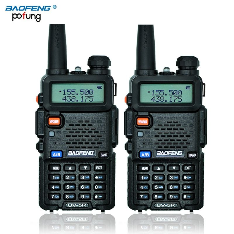 2 Pcs BaoFeng UV-5R Walkie Talkie UV5R CB Radio Station 5W 128CH VHF UHF Dual Band UV 5R Two Way Radio for Hunting Ham Radios