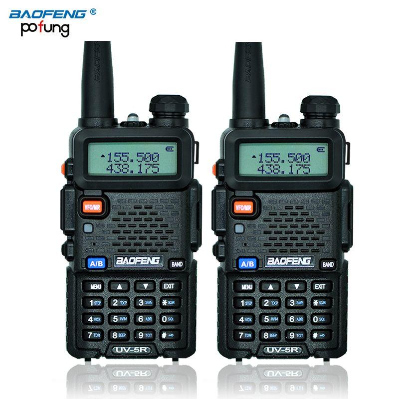 2 Unids Walkie-talkie Baofeng UV5R BaoFeng UV-5R de Radio de Jamón CB 5 W 128CH linterna de Radio VHF UHF de Doble Banda Radio de Dos Vías para La Caza