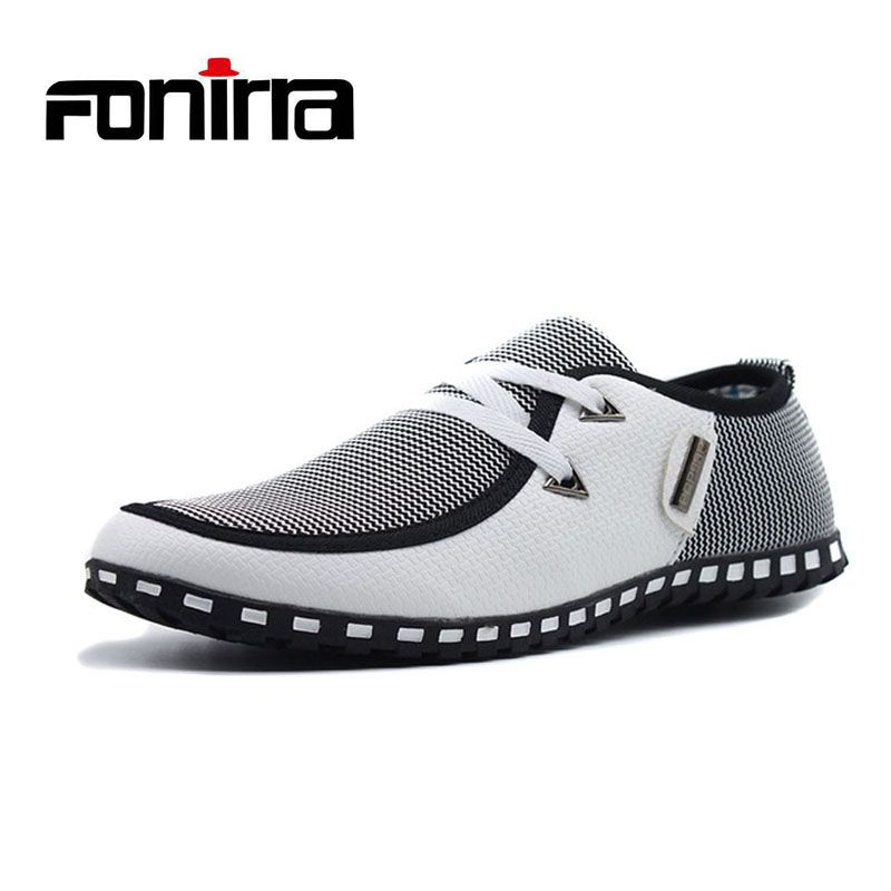Men Casual Shoes Breathable Light Flats Shoes Leather Loafers Slip On Mens Flats Driving Shoes Plus <font><b>size</b></font> FONIRRA 38-47 176
