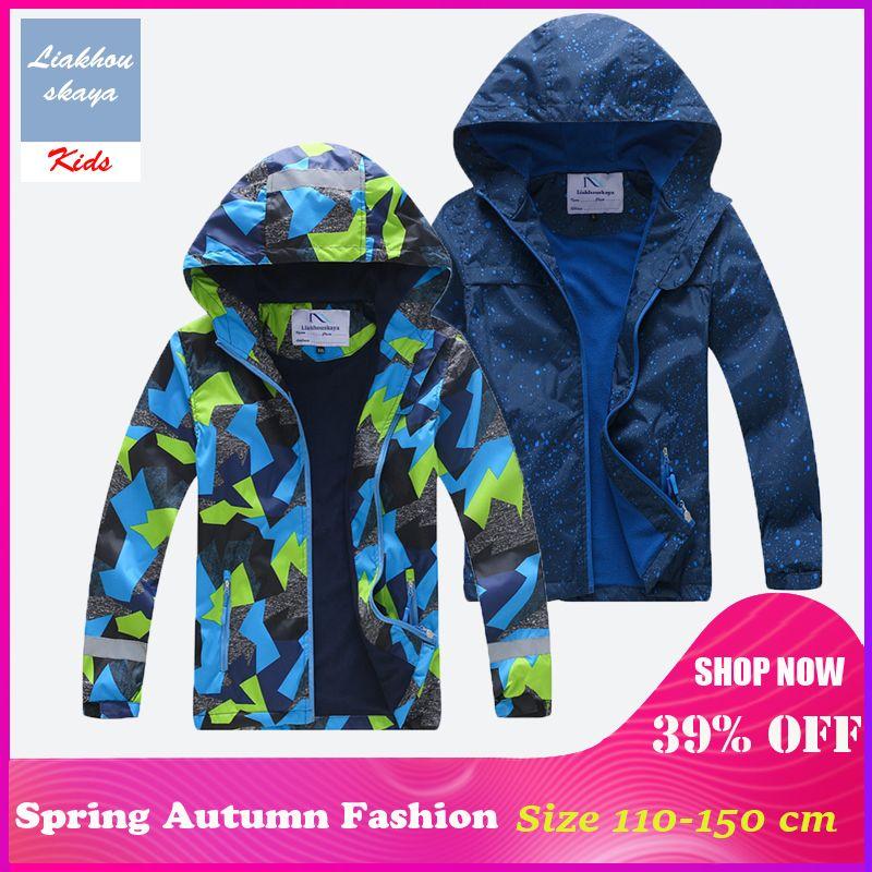 Liakhouskaya 2019 New Spring Children Jacket For Boy Kids Warm Teenage Coat Kids Fleece Windbreakers Water Proof Korean Clothes