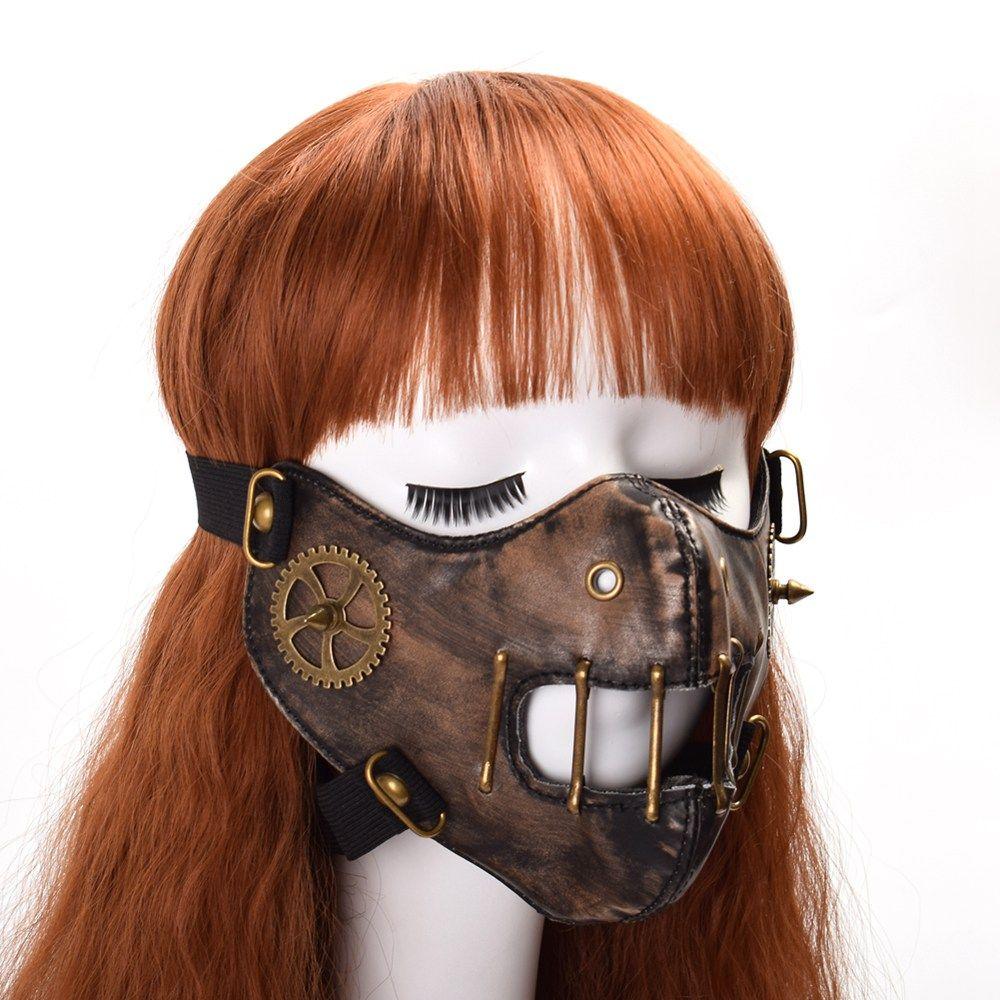 Halloween Steampunk Mask Gothic Punk Gear Rivet Cosplay Face Mask