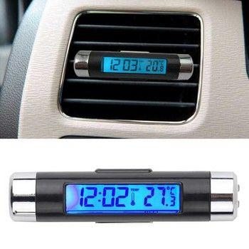 Новый 2 в 1 Авто термометр часы календарь ЖК-дисплей экран Клип на цифровой синий задний свет автомобильные аксессуары