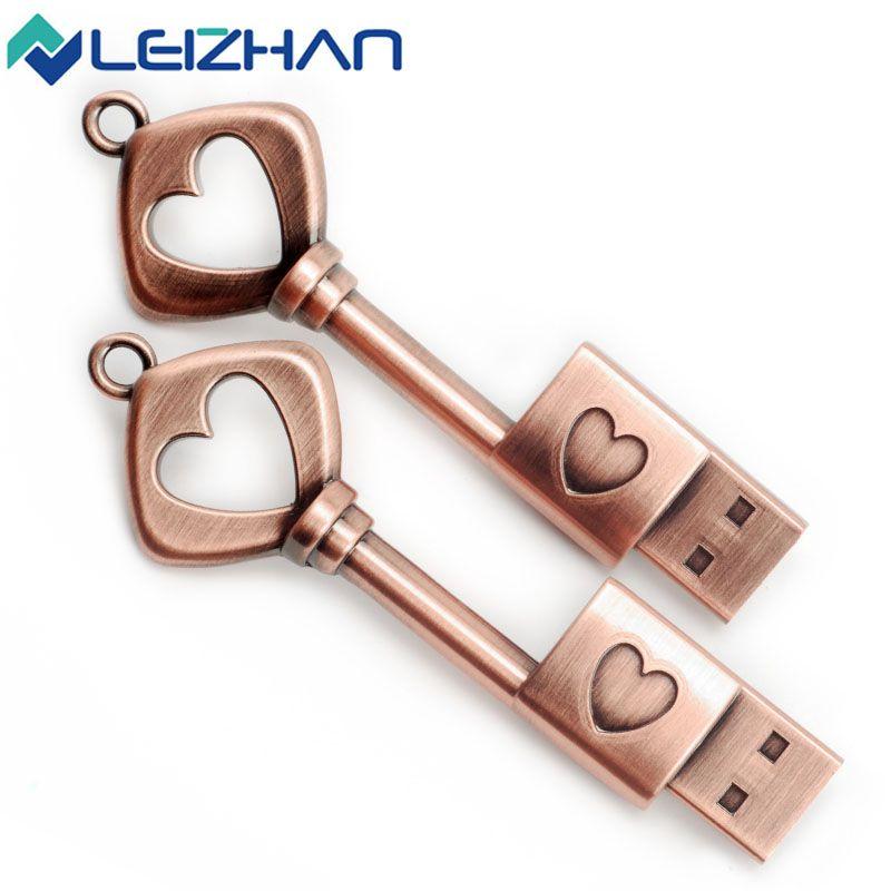 The key to love Metal USB flash drive U disk 4GB 8GB 16GB 32GB 64GB pen drive pendrive menmory stick Flash Card