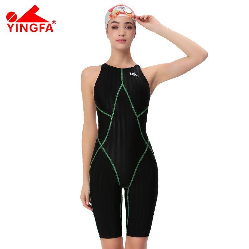 Yingfa FINA approuvé une pièce compétition genou longueur imperméable résistant au chlore femmes maillots de bain sharkskin maillot de bain