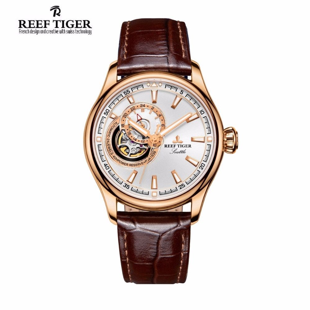 Reef Tiger/RT Luxury Dress Watches for Men Rose Gold Tourbilon Automatic Watch Leather Strap RGA1639