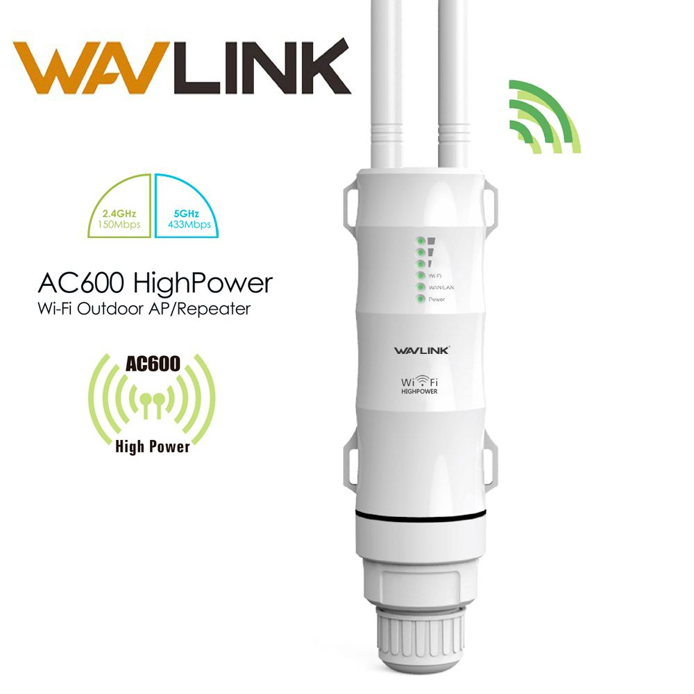 Wavlink AC600 27dBm Wifi Extender High Power Outdoor Wifi Repeater 2.4G/150Mbps +5GHz /433Mbps Wireless Wifi Router with AP WISP