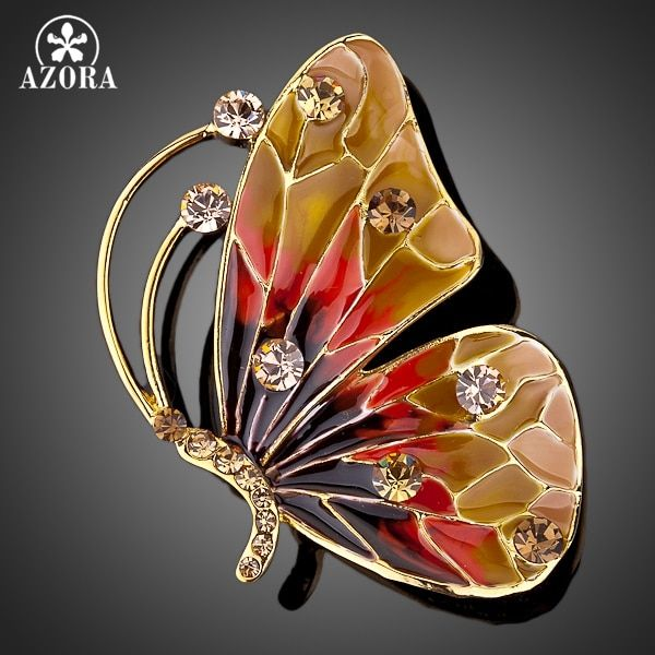 AZORA Gold Color Stellux Pink Austrian Crystal Multicolour Butterfly Pin Brooch TP0005