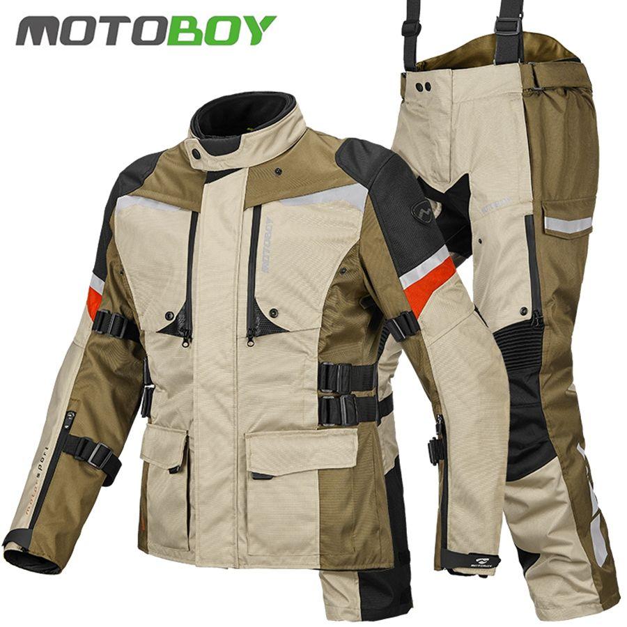 Freies verschiffen 1 set Männer der 600D Oxford Wasserdichte Off-straße Reiten Winddicht Winter Warme Futter Mantel Motorrad Jacke und Hosen