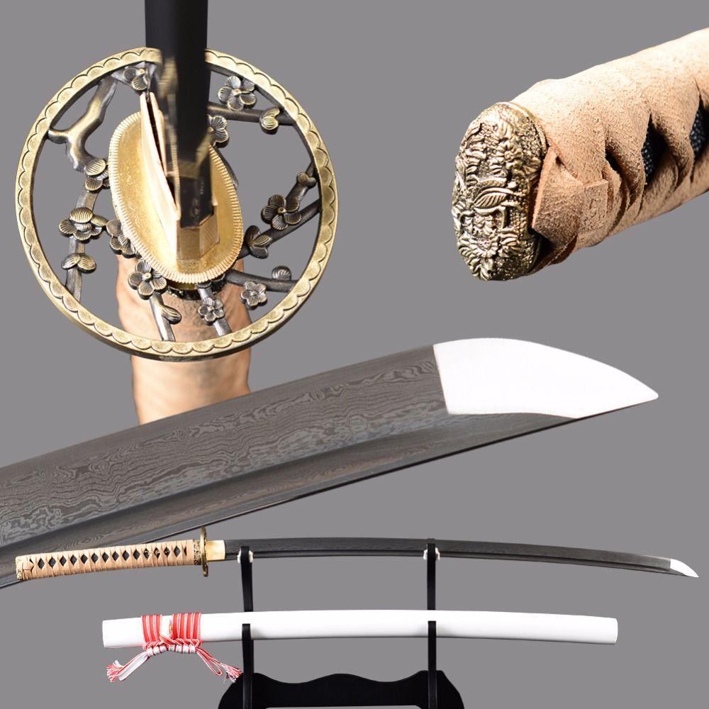 Damascus Samurai Sword Japanese Katana Sharp Full Tang Folded Steel 2048 Layers Blade Cutting Practice Espadas Long Knife