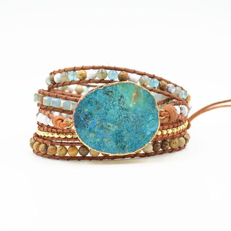 Latest <font><b>2018</b></font> - 5X Leather Wrap Beaded Bracelet Huge OceanStone Bracelet, Boho Chic Jewelry, Bohemian Bracelet Valentine's Gift!