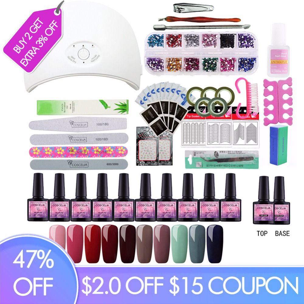Full Manicure Set With Lamp Nail Kit 24W/36W UV LED Lamp For Nail Art Sets 10pcs 8ml UV Gel Nail Polish Set Tools For Manicure