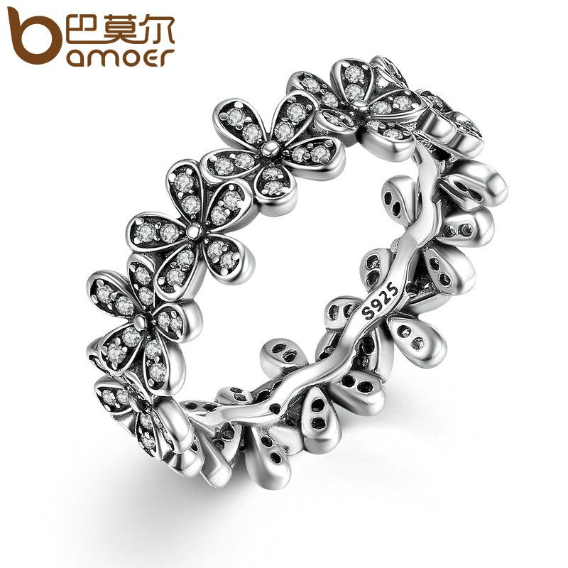 BAMOER New Arrival Wholesale Cheap Popular Flower Finger Copper Ring Fashion Wedding Jewelry 3 Size PA7220