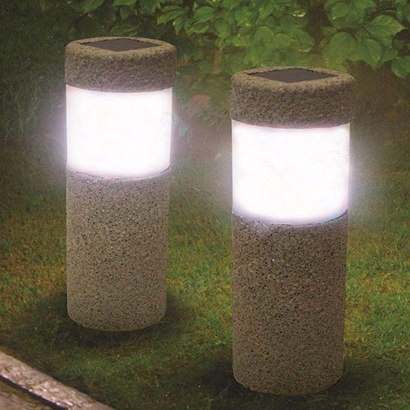 1 stück Solar Power Stein Säule W eiß LED Solarleuchten Garten Im Freien Licht Rasen Lampe hof Dekoration Lampe 5 Watt