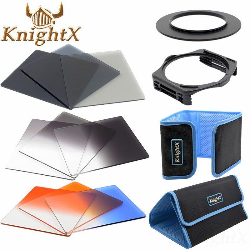 KnightX 52mm 58mm 72mm 77mm Kit d'accessoires de filtre d'objectif carré complet ND pour porte-filtre Cokin série P pour Nikon Sony Canon