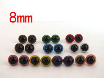 free shipping!!!100pcs/lot 10color can choose 8mm round  pupil crystal toy eyes