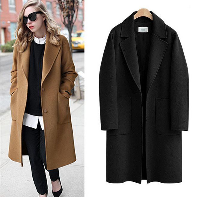 Long Sleeve Winter Wool Coat Women Europe Style Large Size Casaco Feminino Ladies Autumn New Slim Long Woolen Coats Female Sales