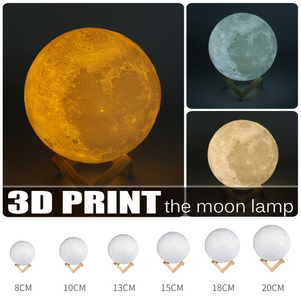 8-20 см Dia 3D Луна лампы USB светодиодный свет подарок touch Сенсор 2/3/7 цветов Изменение перезаряжаемые свет Спальня День Святого Валентина Декор