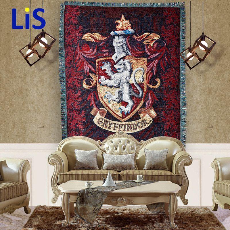 115x150cm 550g Badge Tassels Tapestry for Harri Potter Gryffindor Slytherin Hufflerpuff Ravenclaw Carpet Toy Party Action Figure