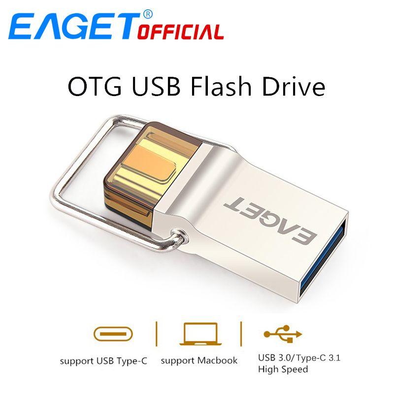 EAGET Type-C USB 3.0 Disque USB Flash Drive 64 GB Pen Drive 16 GB 32 GB OTG Métal USB Flash Bâton Disque Pour HUAWEI PC pour Type-C téléphone