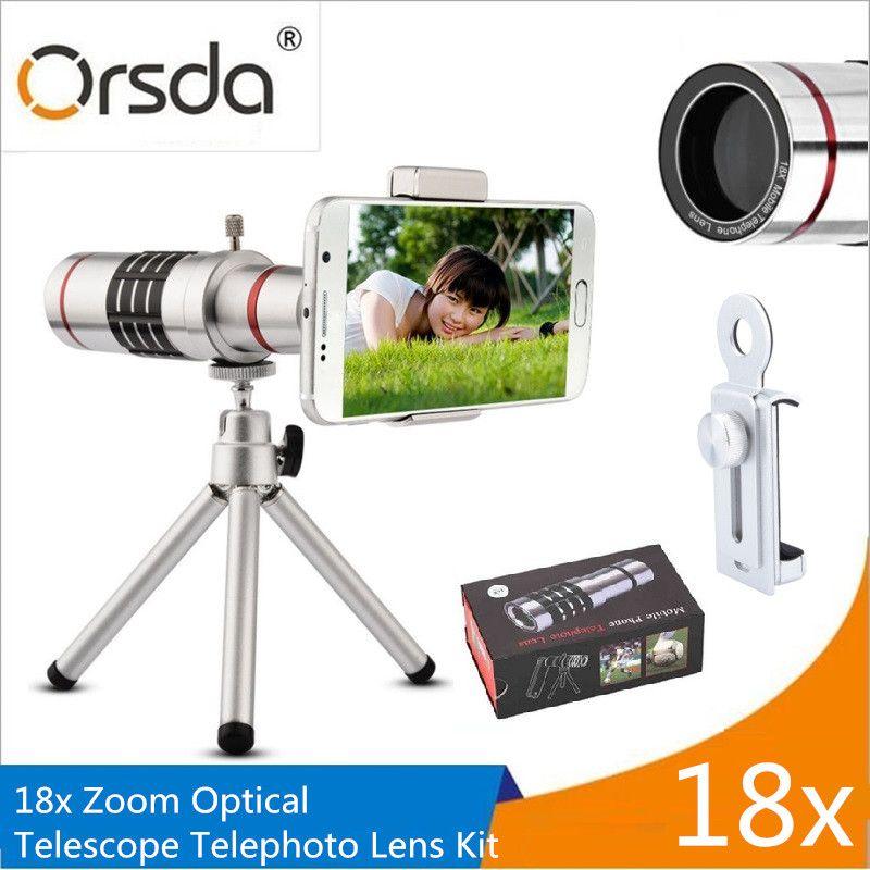 Orsda Lentilles De Téléphone Portable 18x Télescope Caméra Zoom Optique Téléphone Portable téléobjectif pour iPhone Samsung Huawei Avec Mini Trépied