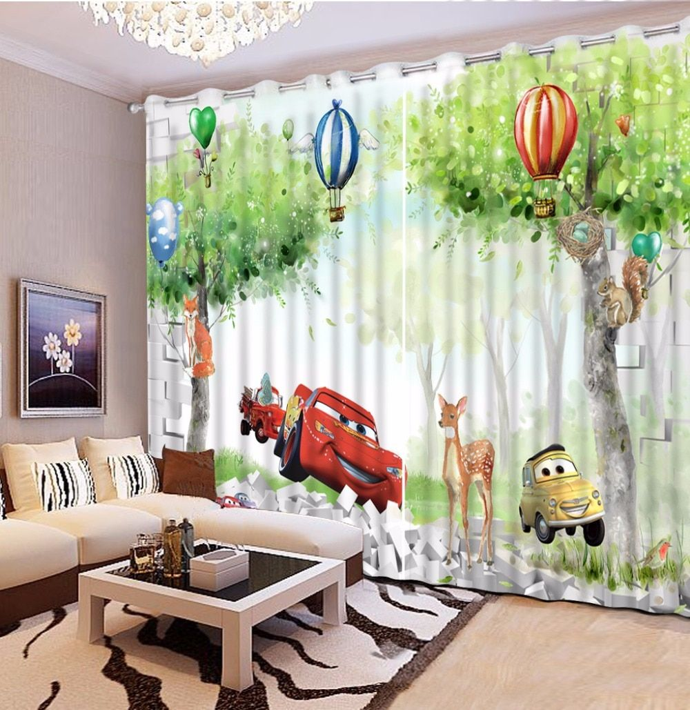 Custom Curtains Car cartoon Boys Curtains Cotton Window Blackout Curtain Modern Brief Home Decoration Drapes