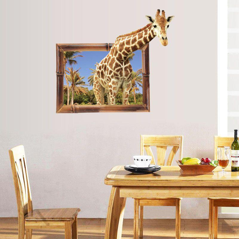 [Fundecor] мультфильм 3D Поддельные Windows жираф стены наклейки Животные гостиная Крытый искусства наклейки ПВХ фрески украшения дома