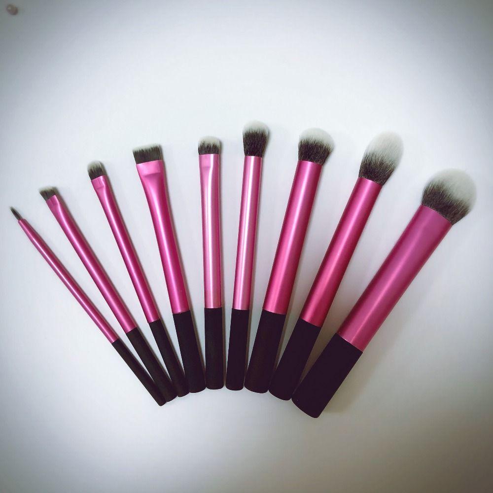 Super doux Taklon cheveux haute qualité 9 pièces rose maquillage pinceaux set poudre blush kabuki blush mélange ombre à paupières liner angle