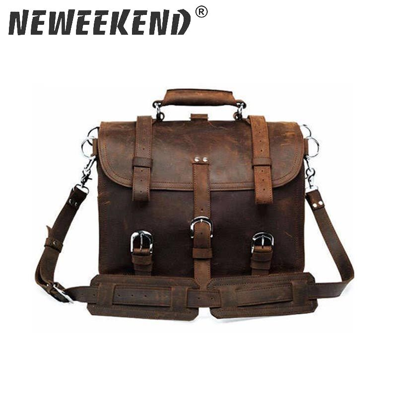 NEWEEKEND Retro Fashion Top Cow Genuine Leather Crazy Horse Multifunctional 16 Inch Backpack Luggage Travel Bag 5048