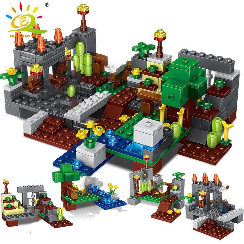 4 en 1 groupe de ville Minecrafted ville blocs de construction avec dragon Steve figures modèle briques ensemble jouets éducatifs pour les enfants