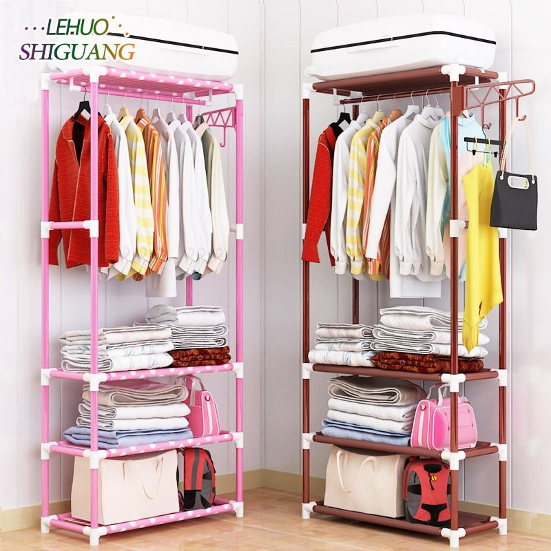 Coat Rack Stainless steel nonwovens Simple Assembly can be removed Bedroom Hanging storage clothes hanger wardrobe