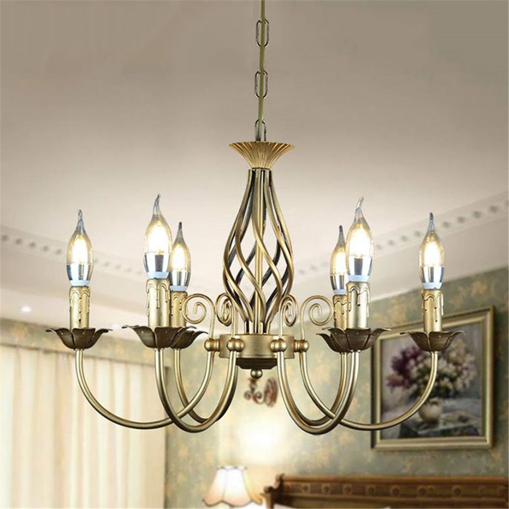 Vintage Wrought Iron Chandelier E14 Candle hanging Light Lamp Bronze Metal LED home Lighting Fixture modern iron lustre promotio