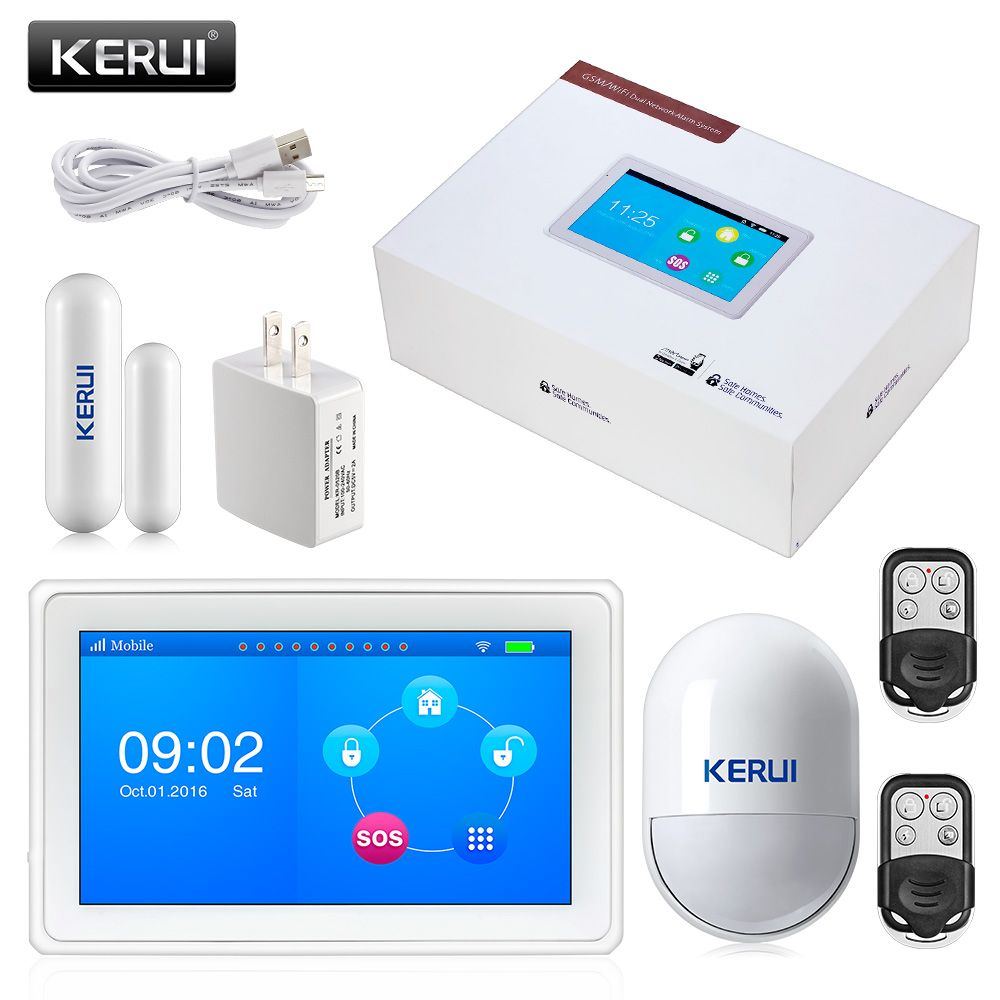 2017 KERUI K7 Amazing Design 7 Inch TFT Color Display Flat WIFI GSM Alarm System Security Burglar Door Sensor Alarm