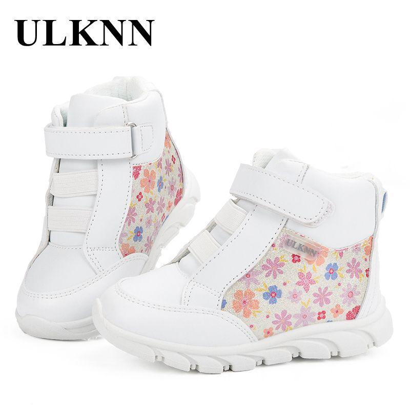 Ulknn sneakers para Niñas deporte Zapatos niños sneakers Niñas marca flores patrón sólido simple moda chaussure blanco tamaño 20- 25