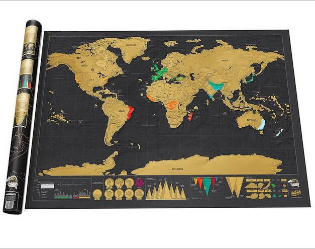 1 Piece Stationery Store Maps of The Worlds Deluxe Black Scratch off Map World Wall Map Office Decor 82.5x59.5CM