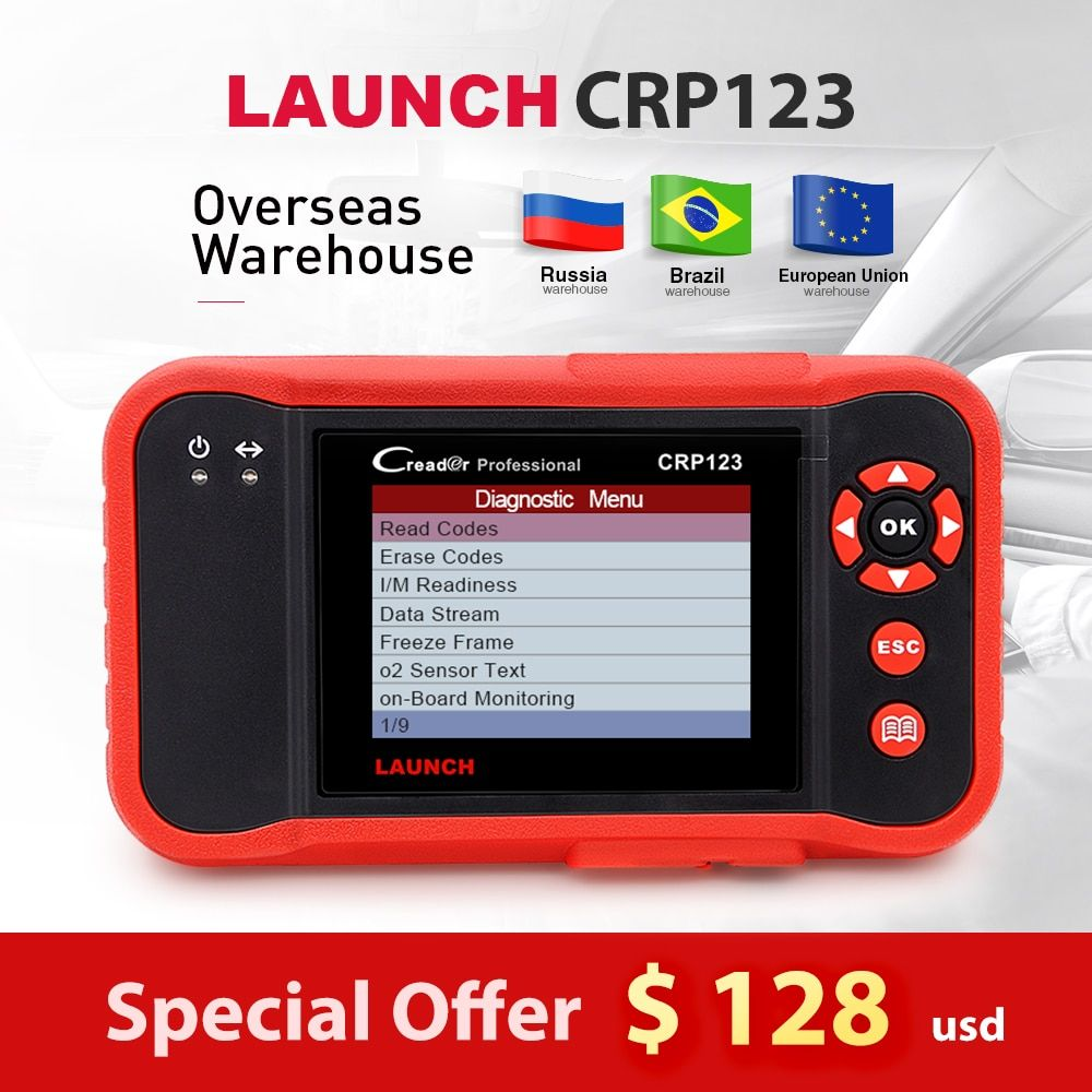 Launch X431 Creader CRP123 obd2 code reader Scanner free update Engine/ABS/Airbag/AT CRP 123 Auto Diagnostic Tool creader vii+
