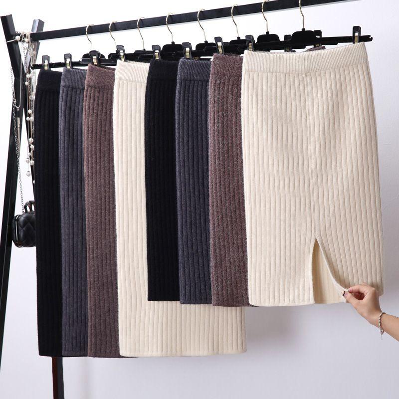 Femmes dos fente moulante élégant Midi Jupe crayon automne hiver décontracté tricoté Jupe taille haute jupes femmes Jupe Femme Faldas