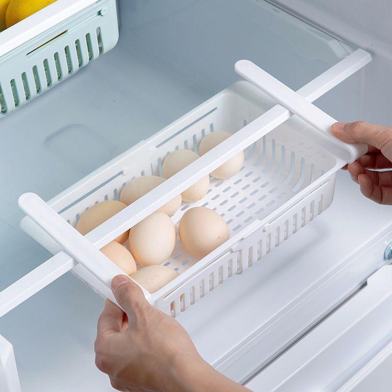 Organisateur de cuisine cuisine réglable réfrigérateur stockage Rack réfrigérateur congélateur étagère titulaire tiroir coulissant organisateur gain de place