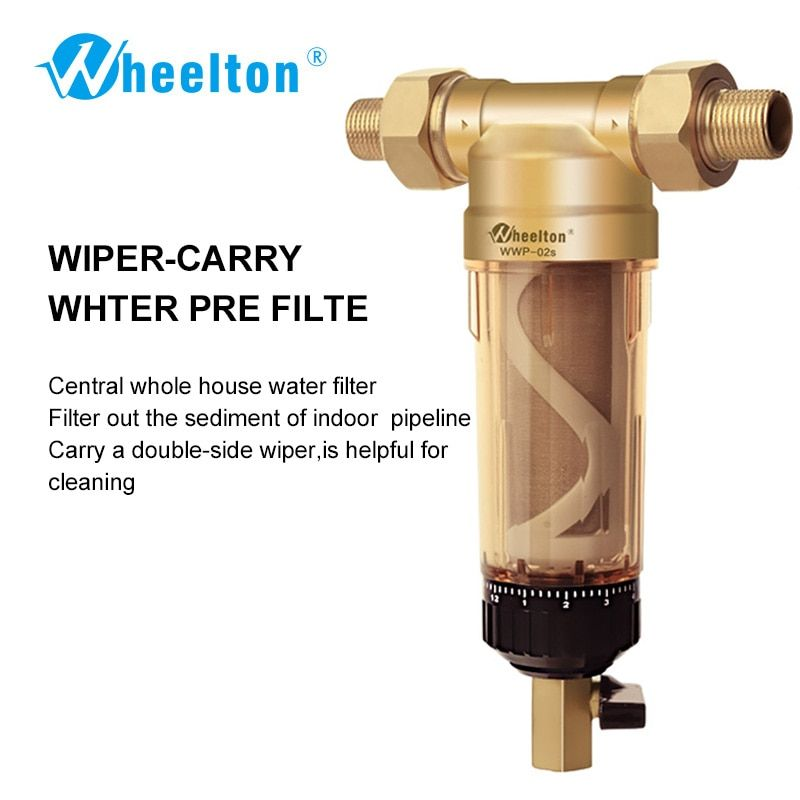Wheelton D'eau Pré-Filtre (WWP-02S) Transporter Deux Essuie-glaces Euro-standard En Laiton 30 Ans lifitime Purificateur toute la maison 1/2