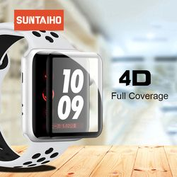 Suntaiho 4D Full Cover For apple watch 4 screen protector Soft Edge Full gel glass Film for Apple Watch 4 3 2 1 40 44 mm screen