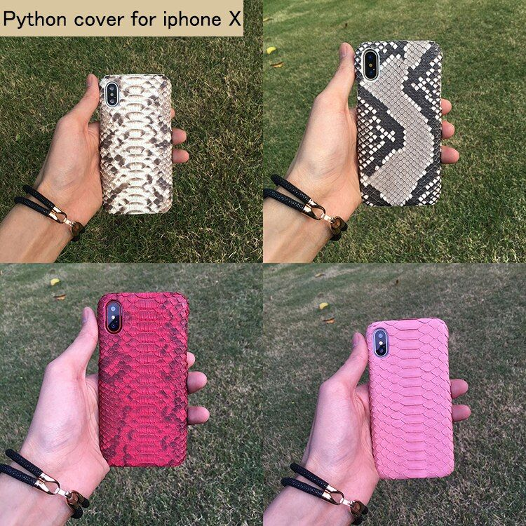Luxury Genuine Boa Python Skin Leather Back Phone Case For Apple iphone x Real Snake Protective Cover Shell for iphone X 5.8''