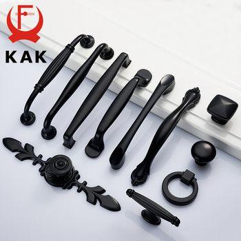 KAK Cabinet Poignées En Alliage de Zinc Noir Américain de style Armoire De Cuisine Porte Poignées de Tiroir Boutons De Mode Matériel de Poignée de Meubles
