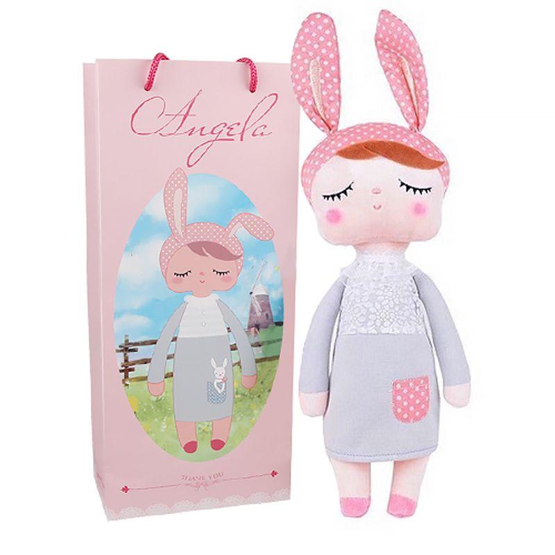 Boîte Metoo poupée kawaii en peluche douce en peluche animaux bébé enfants jouets pour enfants filles garçons anniversaire noël Angela lapin